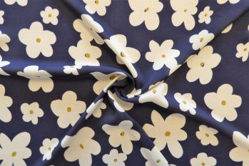 Lady McElroy Dancing Daisies - Navy - Viscose Challis Lawn Remnant 2.3M