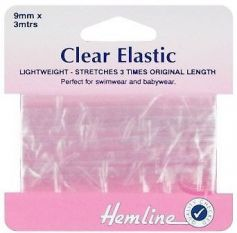 Hemline Swimwear Elastic Clear 3m x 9mm
