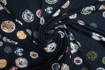 Lady McElroy Lotus Memoirs - Oxford Navy Crepe Jersey Faulty Remnant - 1.4m
