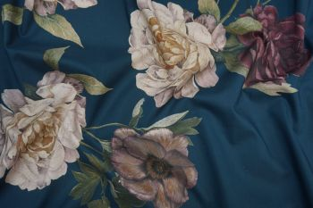 Lady McElroy Midnight Rosette - Cotton Marlie Lawn Remnant - 2.1m