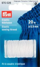 Prym 0.5mm Elastic Sewing Thread - White 20m