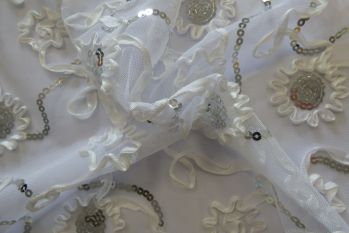 Embroidered Dress Net - White